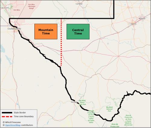 Texas time zone border