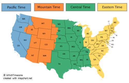 USA states time zones